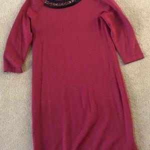 Boden Pink Embellished Neckline  Sweater Dress 6R